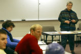 (Denver shot on 3/10/05) Sharon Heinlen (cq), professor at Regis University in Denver, teaches a...