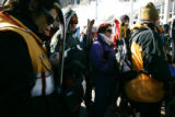 "(2/23/05, Aspen, CO) People get in line to get on the Aspen gondola lift and get skiing.  ""A..."