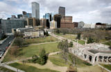 (DENVER, Co. - SHOT 3/17/2005) A view of Civic Center Park looking north with Downtown Denver in...
