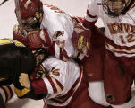 (DENVER, COLO.,  MARCH 4, 2005)   University of Denver Pioneers #25, Matt Carle (cq Matt Carle)...