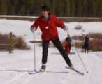(TABERNASH, Colo., March 4, 2005) Liane Morrison (cq) (Denver) makes her way up a trail of Devil's...