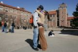 03/07/2005 Boulder-CU students Dylan Armstrong and Veronica Hartowicz (cq-Hartowicz) kiss before...