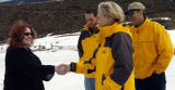 (ASPEN, Colo., March 8, 2005)   Student Joan Schultz (cq), from Basalt Colorado, is greeted by Ben...