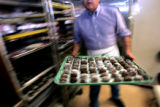 (DENVER, Co. - Shot 3/2/2005) Erich (cq) Dietrich, owner of Dietrich's Chocolates and Espresso on...