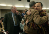 (2/20/05, Denver, CO)  Joe Graziano, a former Maryknoll priest, gives David Stang, the brother of...