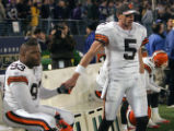 November 7, 2004, Cleveland Browns vs. Baltimore Ravens--Jeff Garcia has a moment with Michael...