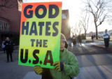 (03/11/05, Colorado Springs, CO)  A protester with the Wesboro Baptist Church who would not give...