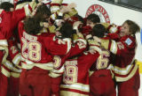 10 APR 2004:  Denver University celebrates their victory over Maine University during the Division...