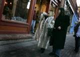 (2/23/05, Aspen, CO) South Beach residents and Aspen tourists Carmen Wong, and Mess Anger (cq)...