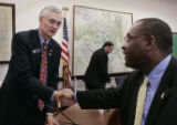 ( DENVER-3/15/2005 ) Senate Finance Committee member Colorado state Sen. Ron Teck, left, (R-Grand...