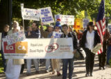 Denver, Colo., {October 7, 2004})   Rally featuring members of a cross-country caravan in support...