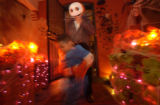 Halloween figures and decorations at the homes of Jennifer Spellman and Judy Driggers, both...