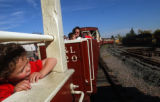 [Golden, CO - Shot on: 10/10/04]Thomas Harries, 3, of Golden, Colo. rides the Thomas The Tank...