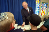 (DENVER, CO. OCTOBER 14, 2004) (Lt. to Rt.) United States Senate candidate Ken Salazar (D) chat...