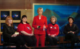 (DENVER, CO., OCTOBER 29, 2004) Channel 4's Molly Hughes, center, and  Adele Healey, 53, of...