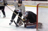 Denver, CO., April 19, 2004. (lt. to rt.) Colorado Avalanche Steve Konowalchuk, attepted goal is...