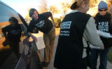 [(Denver, CO,Shot on: 11/2/04)] Election Protection volunteers Sara Rector(right) and Kathe...