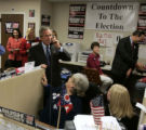 NYT106 - (NYT106) COLUMBUS, Ohio -- Nov. 2, 2004 -- ELN-RDP-BUSH-6 -- President Bush talks with a...