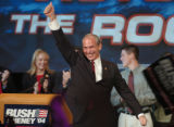 (DENVER, CO., NOVEMBER 2, 2004) Republican Candidate for Congress Bob Beauprez celebrates on stage...