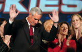 "(DENVER, Co., SHOT 11/2/2004) Pete Coors acknowledges the crowds cheers of ""We Love..."