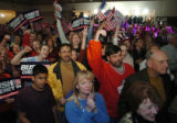 (DENVER, CO., NOVEMBER 2, 2004)  Republican supporters, Neil Sarwal, 12, his father, Alok Sarwal,...