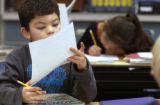 (FOREGROUND TO BACKGROUND)  Hunters Glen Elementary students Abraham Assaf (CQ), 8, of Thornton...