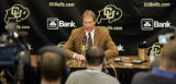 University of Colorado head football coach Gary Barnett announces he is stepping down as coach at...