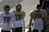 (BOULDER., Colo., Dec. 8, 2005) Football players walk to 7-on-7 practice, Thursday Dec. 9, 2005...