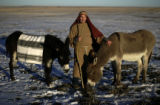(Bennett, Colorado, 12/11/2005) Doug Torza (cq) plays a shepherd (of donkeys?) for the Lakewood...