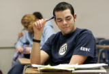 James Swanson, (cq) 20 prepares for a final in his 090 Introductory Algebra Class at Metro State...