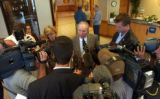 (BROOMFIELD, Colo., April 19, 2004) Dr. Byyny takes on the media questions after his testimony in...