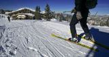A skiier makes his way over to the Two Elk Lodge in the back bowls of Vail Ski Resort on Thursday...