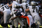 JPM549 With the Denver Broncos defensive line standing up  Oakland Raiders blockers, Broncos...