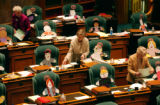 (Denver, Colo., April 18, 2004) State Capitol, House chamber clerks (top-bottom) Marje Spillane,...