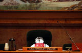 (Denver, Colo., April 18, 2004) A handcrafted doll sits in the seat of the Speaker of the House,...