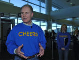 Southwest's CEO Gary Kelly talks to the media after he landed at DIA on a Southwest jet, at...