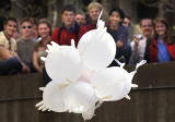 (Boulder,Colorado...April 15, 2004)  University of Colorado students watch an egg carrying vehicle...