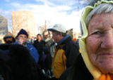 Media Mae Pate, 75, waits in line with more than 1200 others as they wait to get into the annual...
