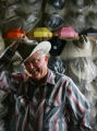 John Ward (cq), owner of Hatters Hats, Inc., shapes a hat for a customer at the National Western...