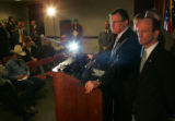 U.S. Attorney Bill Leone, center, answers questions from the press at the U.S. Attorney's office...