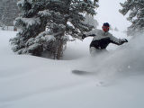II Loveland Ski Area Trees Snowboarding 4-23-04: John Sellers of Frisco snowboards through the...