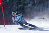 Kirsten Clark rounds a gate in the Super G competition in the Women's Ski World Cup 2005 Aspen...