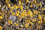 Colorado Buffaloes' fans poke fun at Nebraska during the second quarter of their game against the...