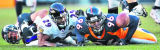 Denver Broncos John Lynch, left, causes Baltimore Ravens Chester Taylor to fumble while Broncos...
