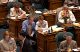 (Denver, Colo., May 4, 2004) State Representatives Joe Stengel and Gayle Berry have a laugh on the...