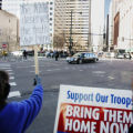 JPM704  Protesters gather outside the Brown Palace hotel in downtown Denver to voice opposition to...