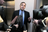 Rob Werking (cq) legal council for the Aurora Police Department , speaks to the media after a...