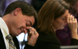 JPM453 Colorado state Sen. Ron Tupa, (D-district 18) rubs his brow as he listens Monday morning,...