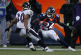 Denver Broncos Champ Bailey returns his fifth interception in five games breaking a Broncos...