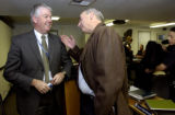 (AURORA., Colo., Nov. 28, 2005) (lt-rt) Terry Jones, deputy chief chats with Aurora's new police...